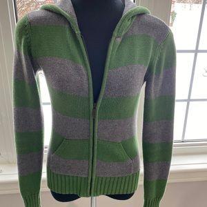 *2/$20* Calvin Klein Striped Knit Hoodie Sweater